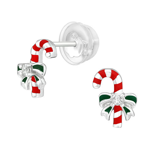 Candy Cane Christmas Ear Studs