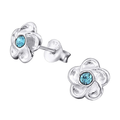 Sterling Silver Flower with blue middle  Ear Studs
