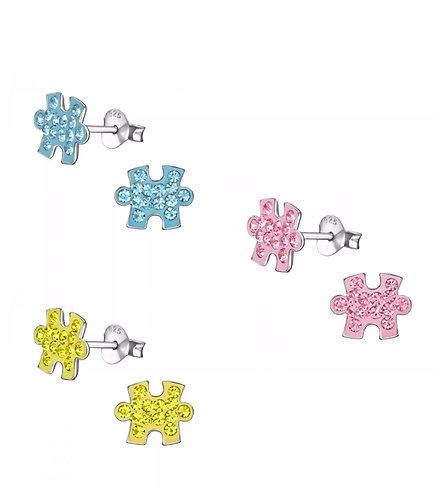 Crystal Jigsaw piece sterling sliver   Ear Studs