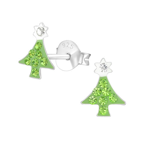 Light Green Green Crystal Christmas Tree Ears Studs