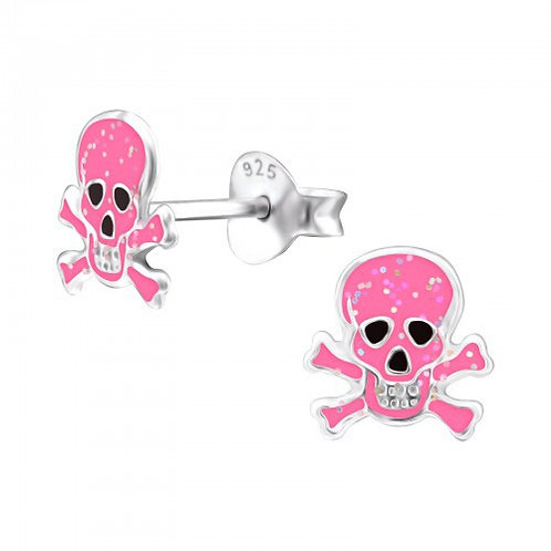 Pink Glitter Skull and crossbones Ear Studs
