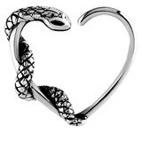 Snake Surgical Steel Steel Continuous Heart Ring With Crystal Gems For right ear