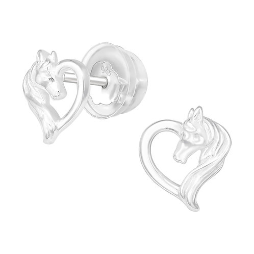 Horse and Heart Sterling Silver Ear Studs