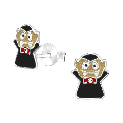 Vampire with Crystal Bow Tie  Ear Studs