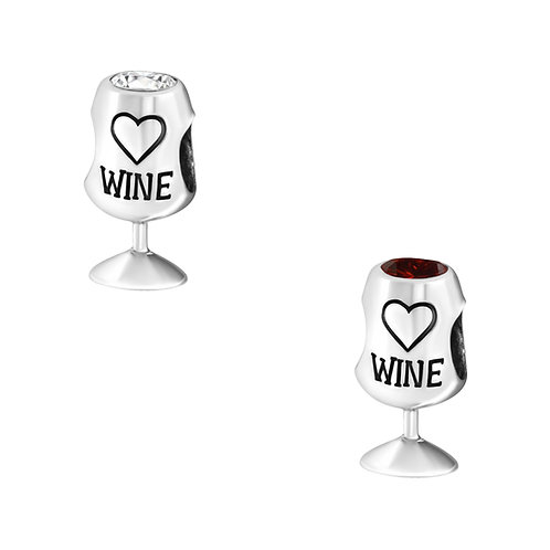 Wine glass Sterling Silver  Bead Charm