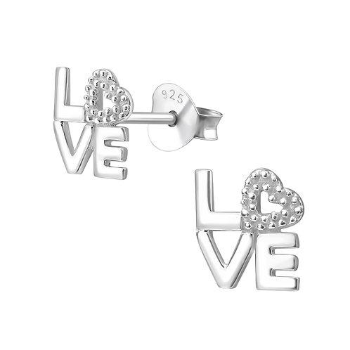 Love Sterling Silver Ear Studs