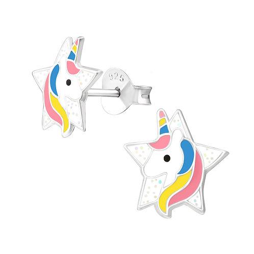 Star Unicorn Sterling Silver Ear Studs