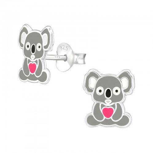 Koala Bears with Pink Heart Sterling Sliver Ear Studs