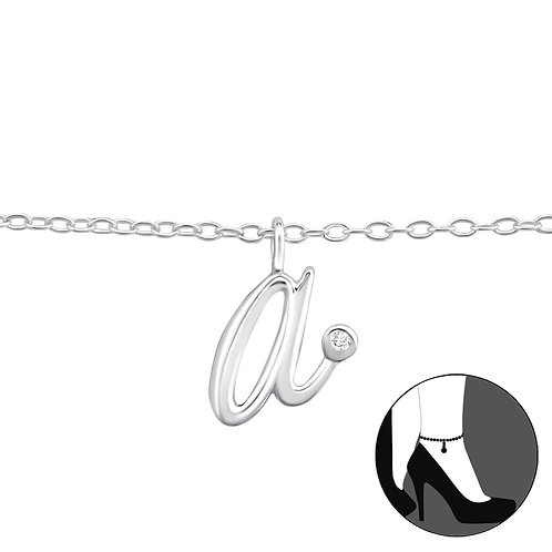 "Sterling Silver Anklet with ""a"" Charm"