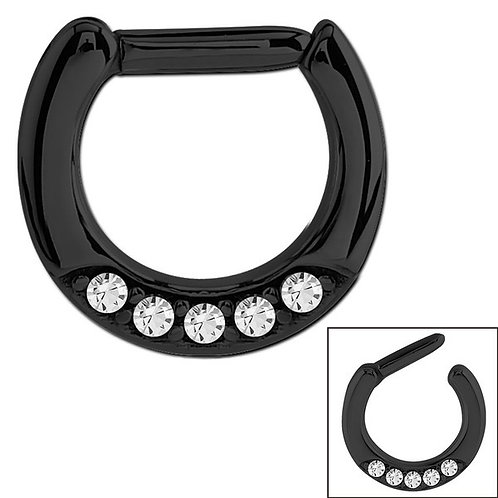 5 Jewelled Black Steel Septum Clicker