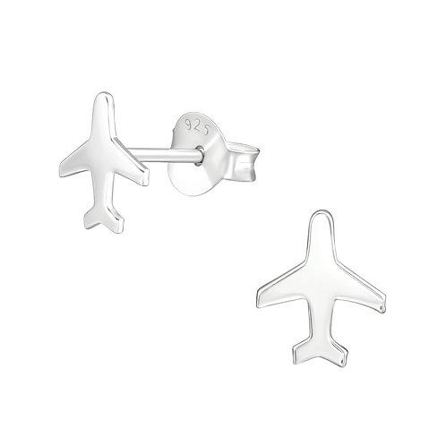 Aeroplane Sterling Silver Ear Studs