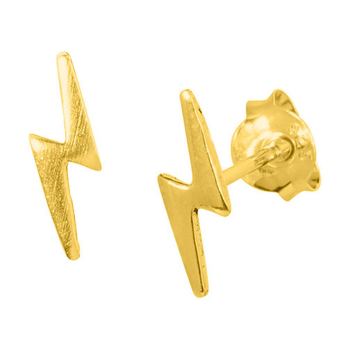 Gold plated Sterling Silver Lightning Bolts  Ear Studs