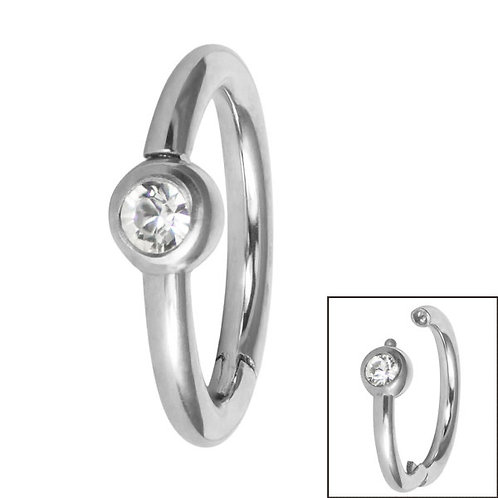 Side facing Bezel set Jewel Hinged Clicker Ring