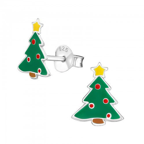 Sterling Silver Christmas Tree Ears Studs
