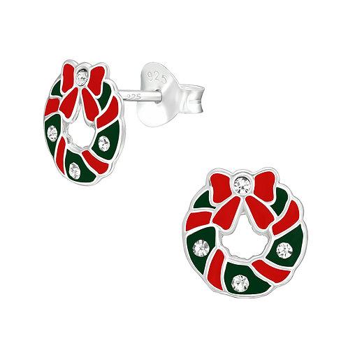 Crystal Christmas Wreath  Sterling Silver Ears Studs