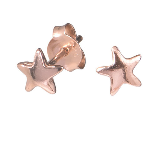 Rose Gold  Plated Sterling Silver Star ear studs