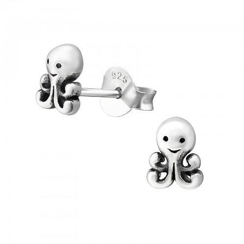 Octopus Sterling Sliver Ear Studs