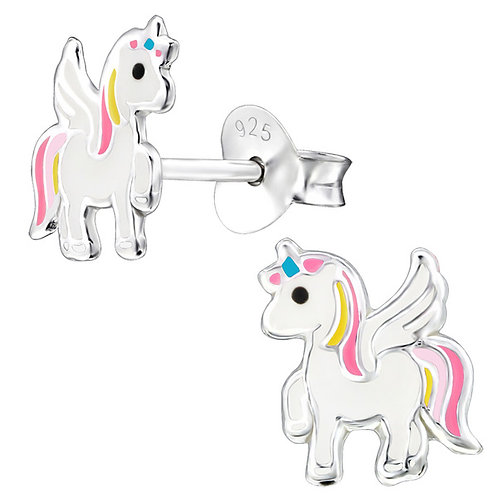 Pink and Yellow  Winged Unicorn Sterling Silver Ear Studs