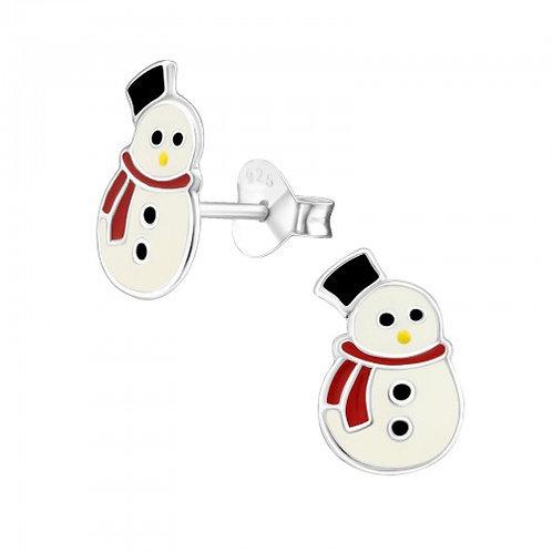 Snowmen Sterling Silver Ear Studs