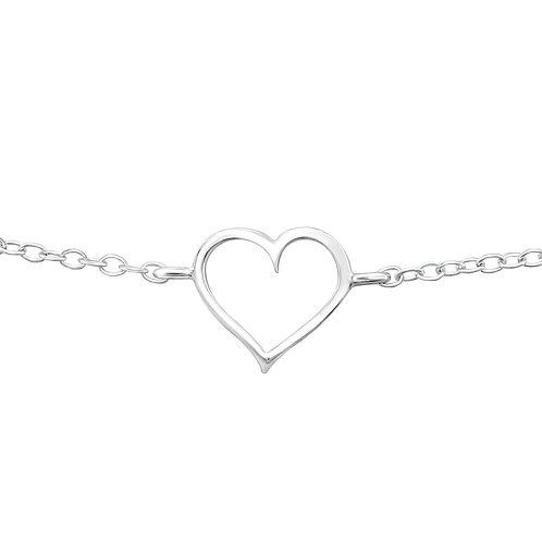 Outline of Heart Chain Bracelet