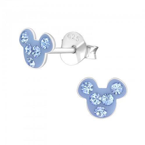 Light Sapphire Crystal Mouse Ears Studs