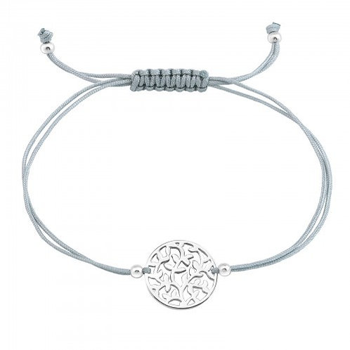 Sterling Silver Tree of Life  Corded Bracelet