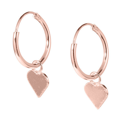 Rose Gold plated Sterling Silver Hoops with Hearts