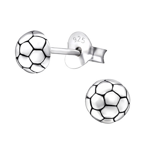 Football Sterling Silver Ear Studs