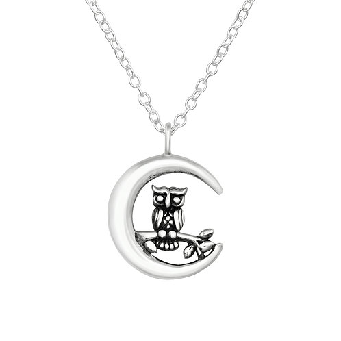 Owl in the Moon Sterling Silver  Necklace