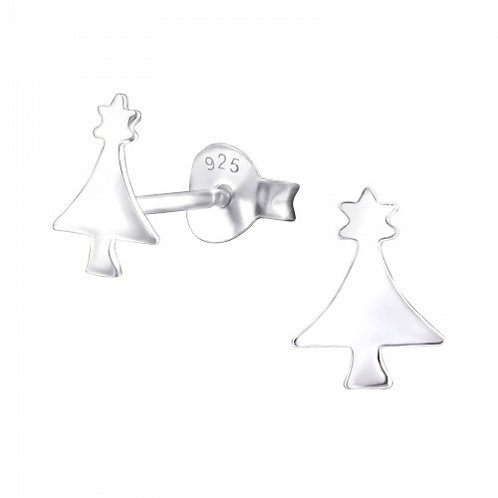 Plain Christmas Tree Sterling Silver Ears Studs