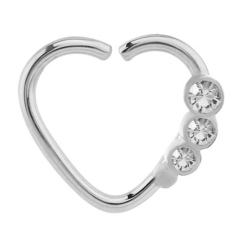 Surgical Steel Steel Continuous Heart Ring With Crystal Gems For Left Ear