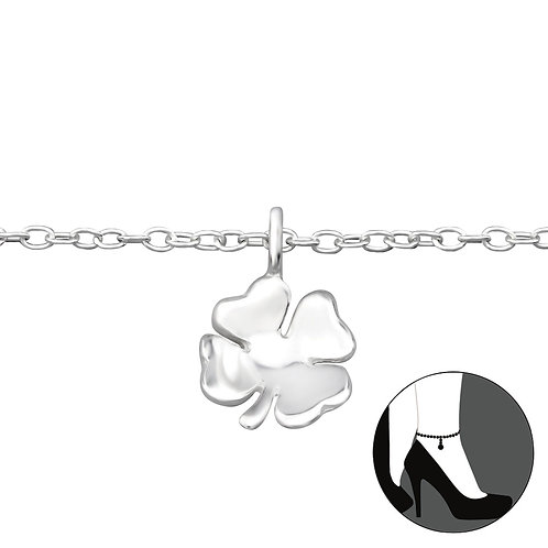 Sterling Silver Anklet with Lucky Clover Charm