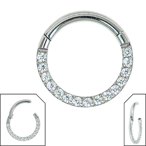 Titanium Hinged Pave Set Eternity Clicker Ring