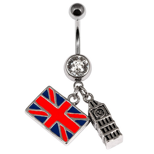 Union Jack Flag and Big Ben Belly Bar