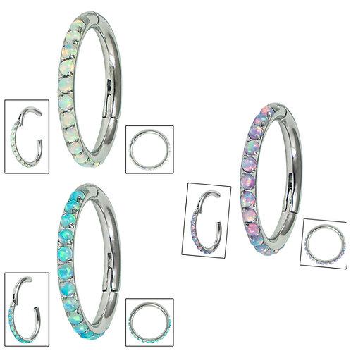 Titanium Hinged Pave Set Opal Edged Clicker Ring