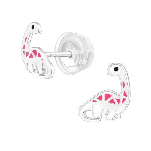 Pink Dinosaur Sterling Silver Ear Studs