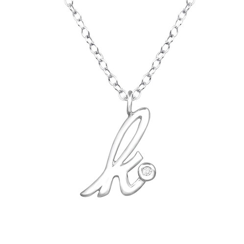 "Sterling Silver Necklace with ""k"" Pendent"
