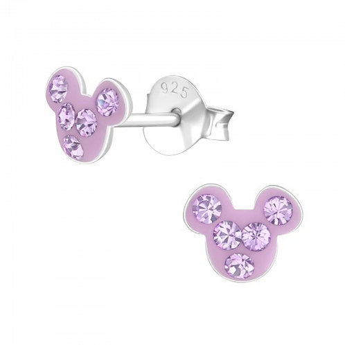 Light Amethyst  Crystal Mouse  Ears Studs