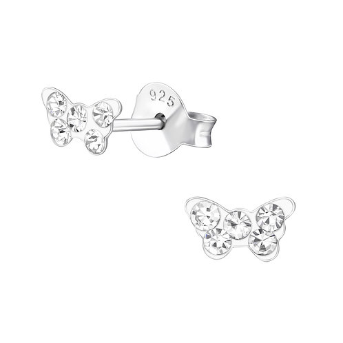 Crystal Butterfly Sterling Silver Ear Studs