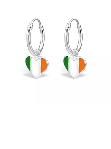 Sterling Sliver Hoops with Heart Shaped IRE Flags