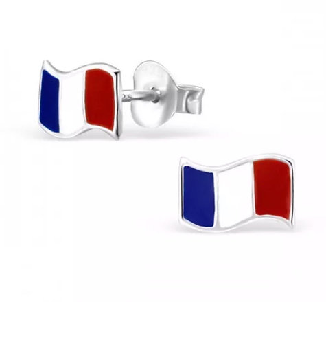 Colourful French Flag Sterling Sliver Ear Studs