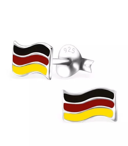Colourful German Flag Sterling Sliver Ear Studs