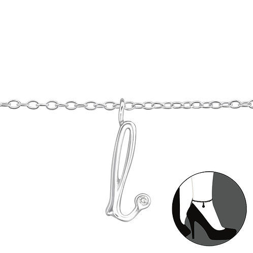 "Sterling Silver Anklet with ""l"" Charm"