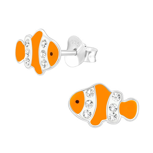 Crystal Clown Fish Sterling Silver Ear Studs