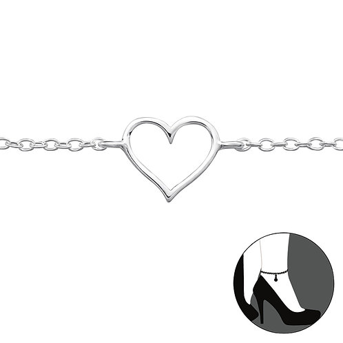 Sterling Silver Anklet with Outline Heart Charm