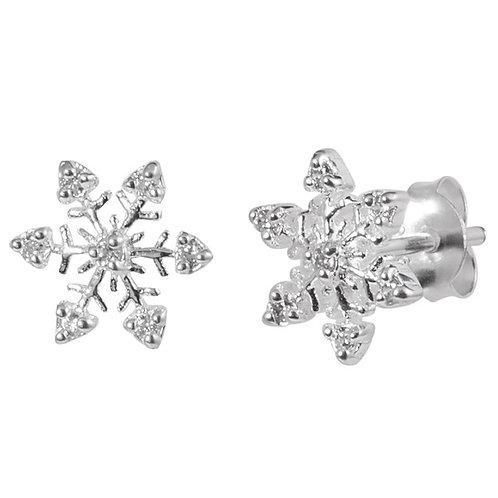 Crystal Snowflake Sterling Silver  Ear Studs