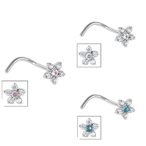 Surgical Steel claw  set flower nose stud