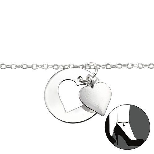 Sterling Silver Anklet with Heart and Heart outline  Charm