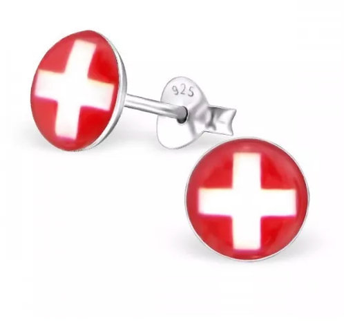 Rounded Swiss Flag Ear Stud