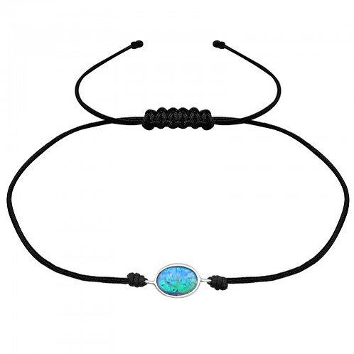 Oval  Azure Corded  Bracelet